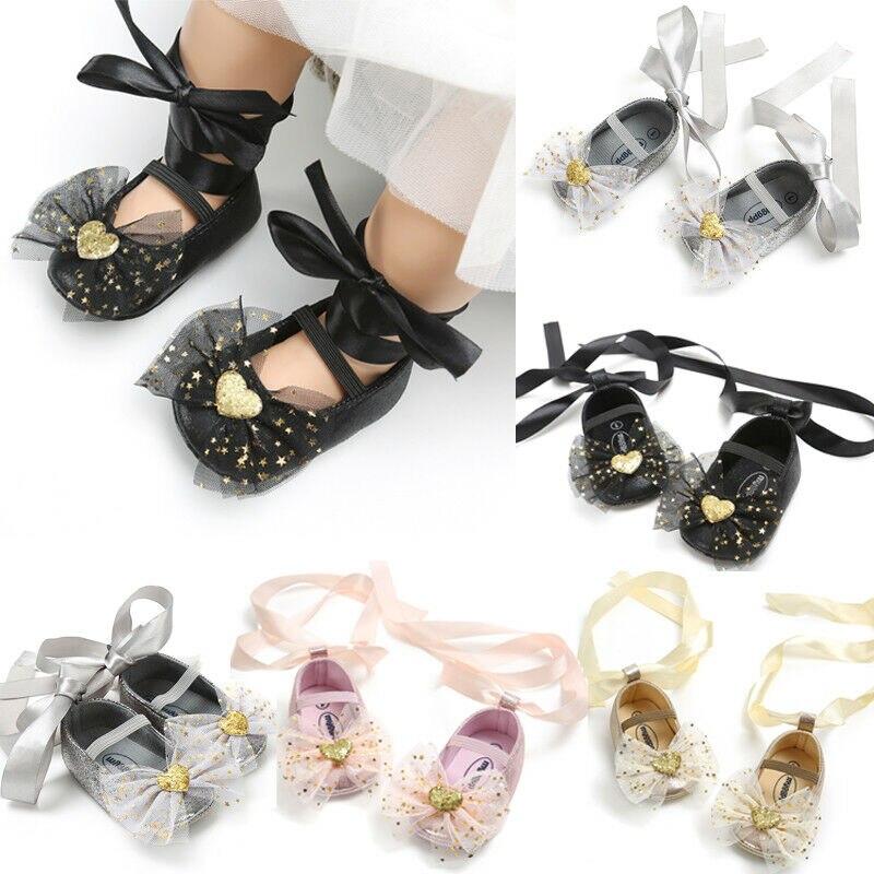 Newborn Baby Girls Shoes Sequins Glitter Star Bow Crib Shoes Princess Soft Sole Shoes Prewalker Infant Toddler 0-18 Months