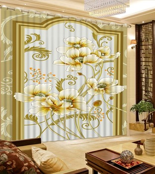 3D Curtains Bed Room Living Room Office Hotel Cortinas Beige Background Pattern Lotus Custom Any Size 3D Curtain Blackout Shade