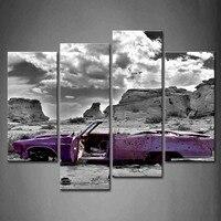 4 Panels Unframed Wall Art Picture Car Bullet Canvas Print Artwork Modern Car Poster No Frame For Home Living Room Decor