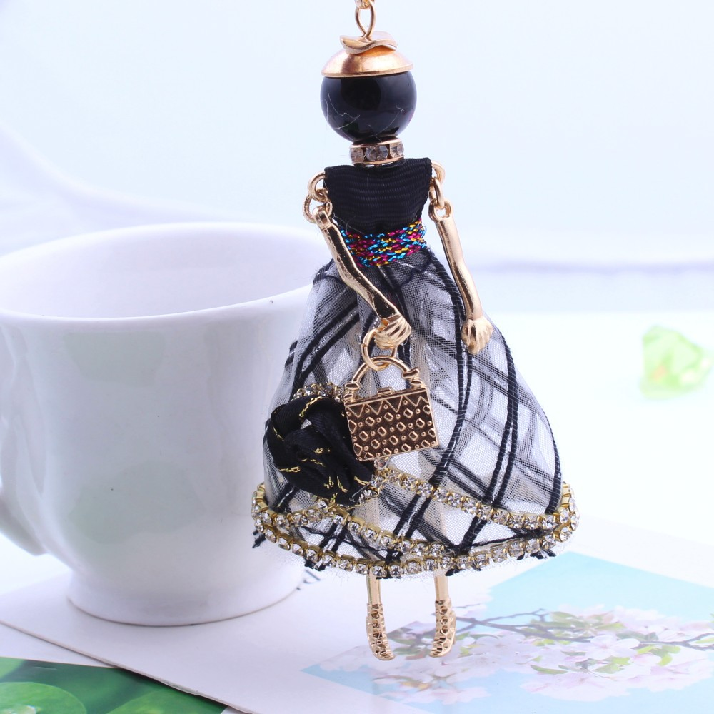 Statement Flower Dress  Doll Necklace Handmade French Doll Pendant 2018 New Alloy Girl Women Necklace Fashion Jewelry