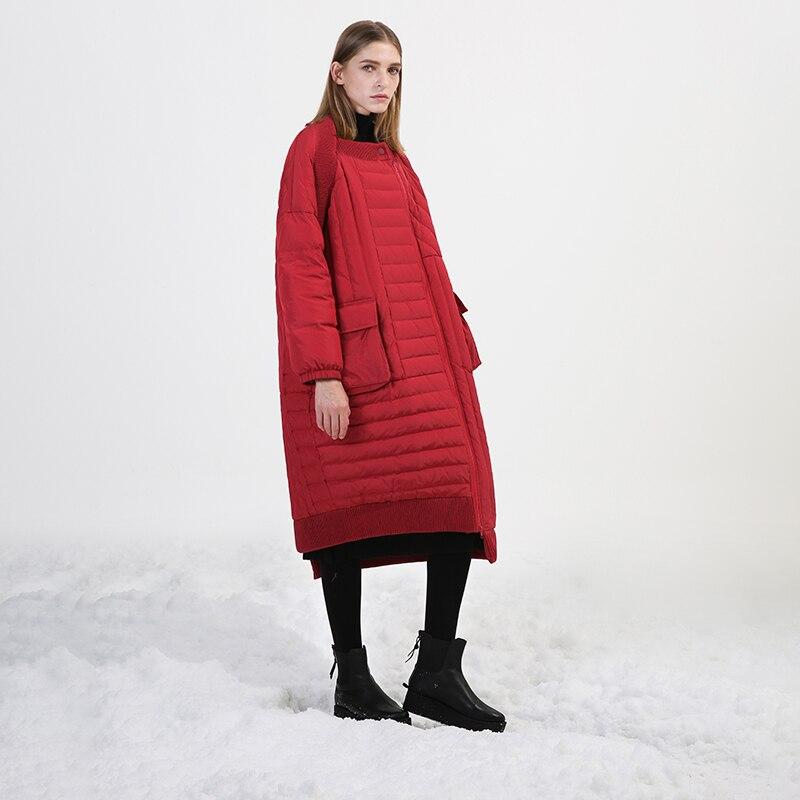 Conception originale 2018 nouvelle arrivée femmes d'hiver manteau asymétrique lâche long blanc duvet de canard veste manteau noir rouge