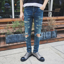 Fashion ripped skinny jeans men's punk rock style jean pants homme slim fit denim pants for men distressed jeans asia size N10