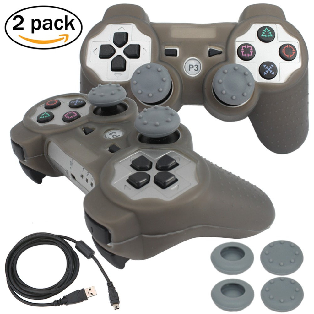 blueloong 2pcs Silver and Silver Color Wireless Bluetooth Joystick Gamepad For Playstation 3 PS3 Controller Free