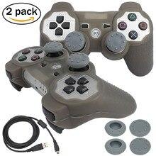 Blueloong 2 шт. серебро и серебро цвет беспроводная связь bluetooth джойстик геймпад для playstation 3 контроллера ps3 + бесплатная доставка