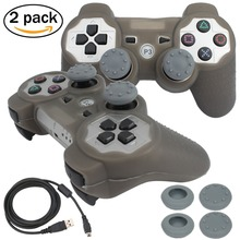 blueloong 2pcs Silver and Silver Color Wireless Bluetooth Joystick Gamepad For Playstation 3 PS3 Controller + Free Shipping
