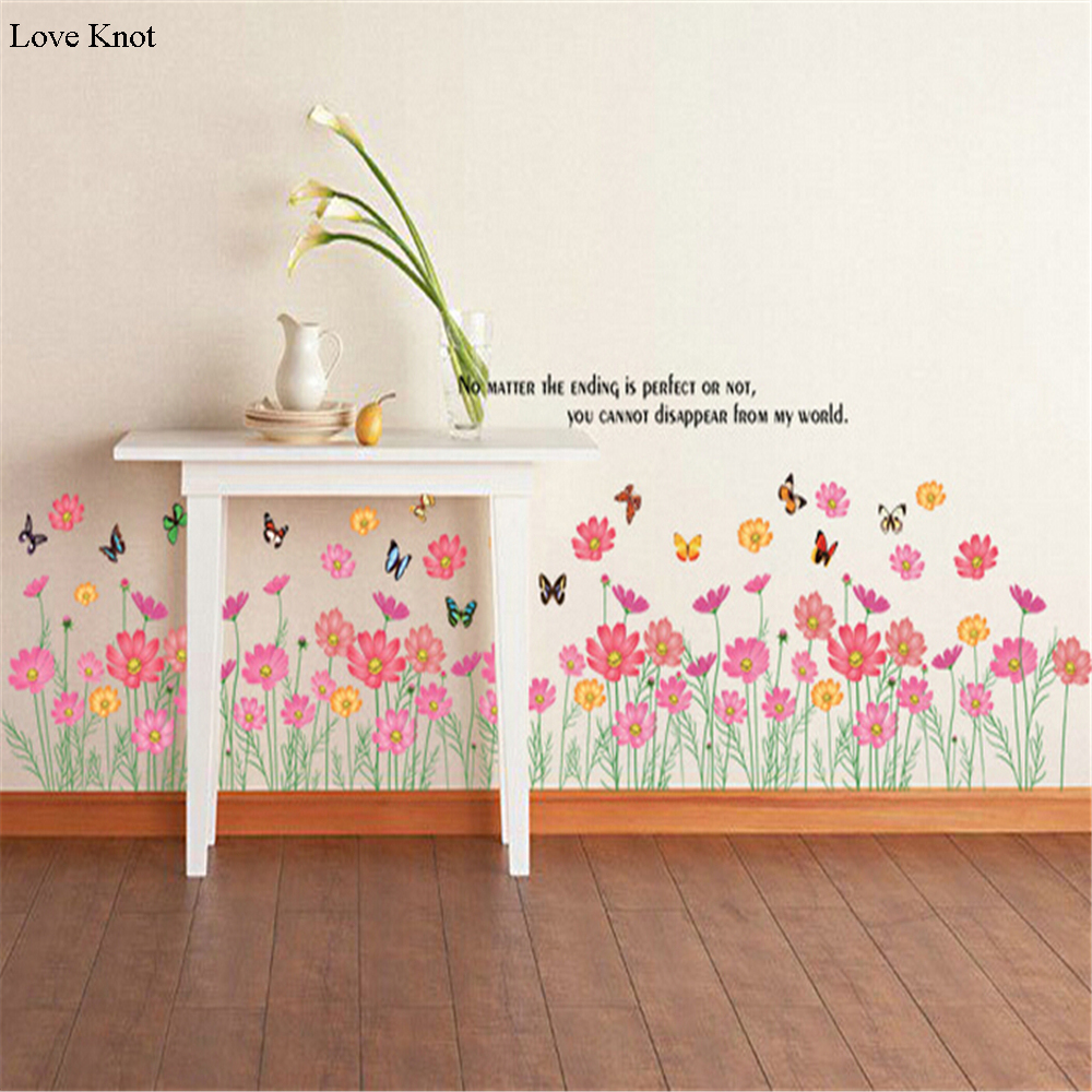 Small Floral Foot Line Vinyl Wall Stickers For Kids Rooms Children Home Decor Sofa Living Wall