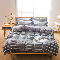 Silver gray stripes print Bedding sets flannel Fabric 4Pcs Queen Size bedlinens Duvet Cover Flat Sheet Pillow Cases