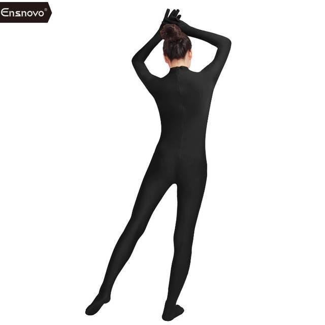 3f8ca95615c Ensnovo Womens One Piece Unitard Full Body Suit Lycra Spandex Tights  Bodysuit Men Spandex Black Second Skin Costume