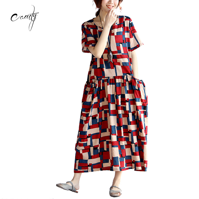 US $17.54 |CAMTY 2017 Women\'s Plus Size Dress Casual House Style Hit Color  Plaid Long Dresses Female-in Dresses from Women\'s Clothing on ...