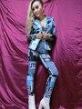 Nueva mujer traje bar DJ etapa cargada retrato fotográfica Jazz hip hop DS cantante trajes escudo de split bailarín del cantante