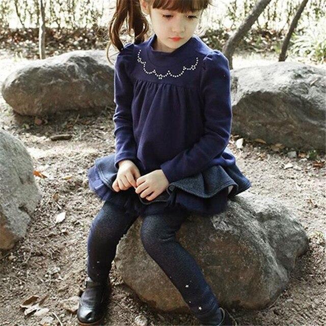 Children's Wear Trousers Girls Cowboy Plus Velvet Puff Playful Winter Princess Skirt Kids Clothing