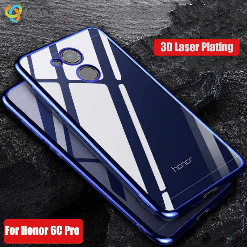 RHOADA For Huawei Honor 6C Pro Case Luxury Soft Silicone Clear Transparent Plating Cover For Huawei Honor V9 Play Phone Cases