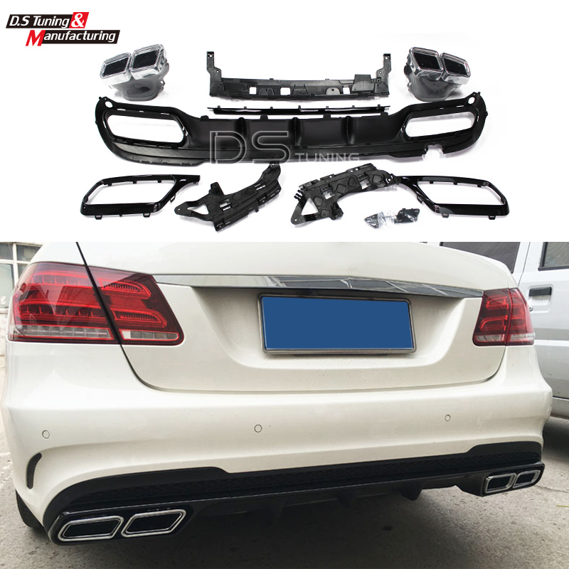 Mercedes W212 E63 AMG Package Rear Lip Diffuser with Exhaust Tips For Benz E class Sedan W212 2014 - 2016 Sport Edition Facelift