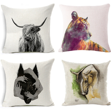 2018 Cartoon Pillow Cover Highland Animals Cow Wolf Tiger Decorative Cushion Cover for Sofa Luxury Home Textiles Cojines