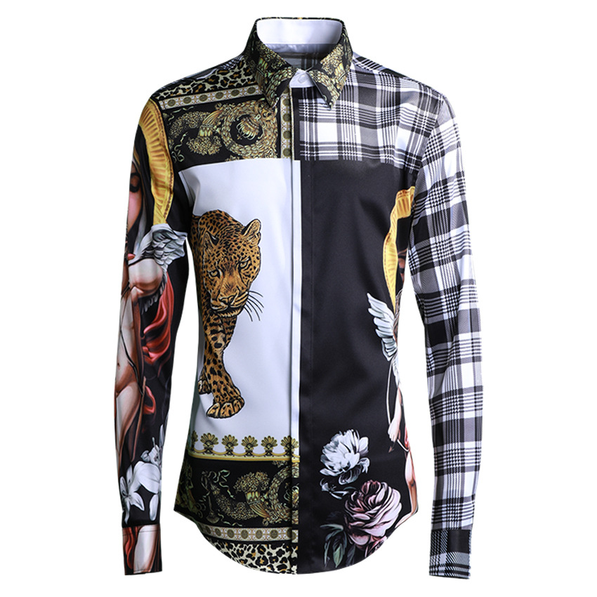 Black White Shirt Men Hollow Fashion Casual Long Sleeve Shirt Cardigan Jacket Male Lovers Dress Party