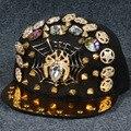 De alta qualidade artesanal rebites Hip Hop Cap recém cristal diamante cabeça de leopardo crânio Punk fresco ajustável borda plana Cap Snapback