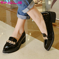 VINLLE 2017 Women Pumps Ladies Shoe Square Low Heel Pointed Toe PU Patent Leather Rhinestone Woman Wedding Shoes Size 34-43