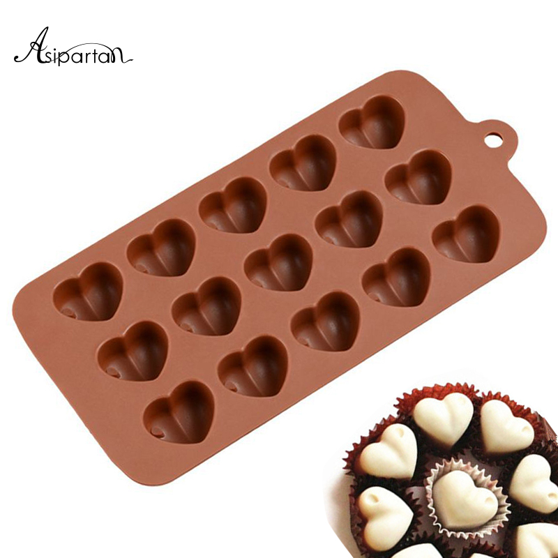 Kitchen,dining & Bar Steady Asipartan 1pc 15 Holes Chocolate Molds Heart Shape Silicone Candy Chocolate Ice Cube Decoration Baking Pastry Tools Bakeware