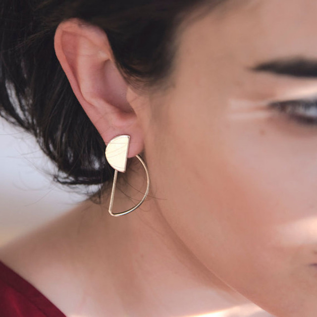 2018 European Style Geometric Semicircle Stud Earrings for Women Simple Copper Ear Studs Earing Brincos Christmas Gifts XR162
