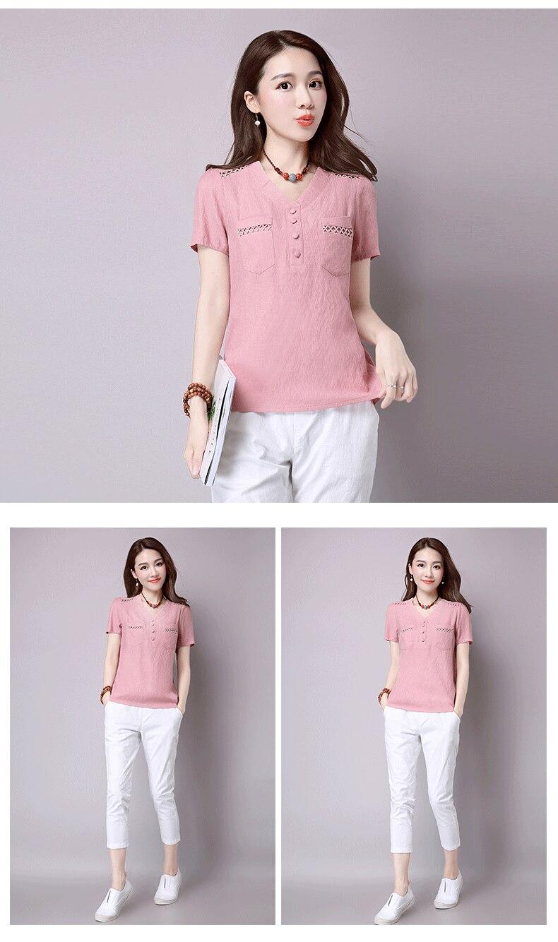 Short sleeve blusas feminina ver o 2019 summer tops women tops linen shirt women blouses off shoulder women blouse 6