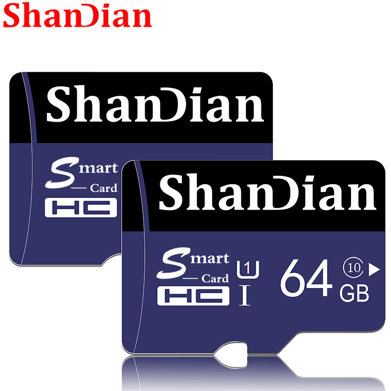 SHANDIAN Memory Card Smart Sd Card 64gb 32gb 16gb 8gb 4gb Mini Flash TF Smartsd Card For Android System With Free SD Adapter