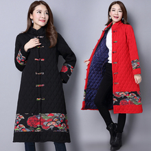 2017 Winter Ethnic Style Retro Plus Size Jacket Coat Medium Long Padded Cotton Outwear Pockets Tang Suit Abstract Pattern MY0032
