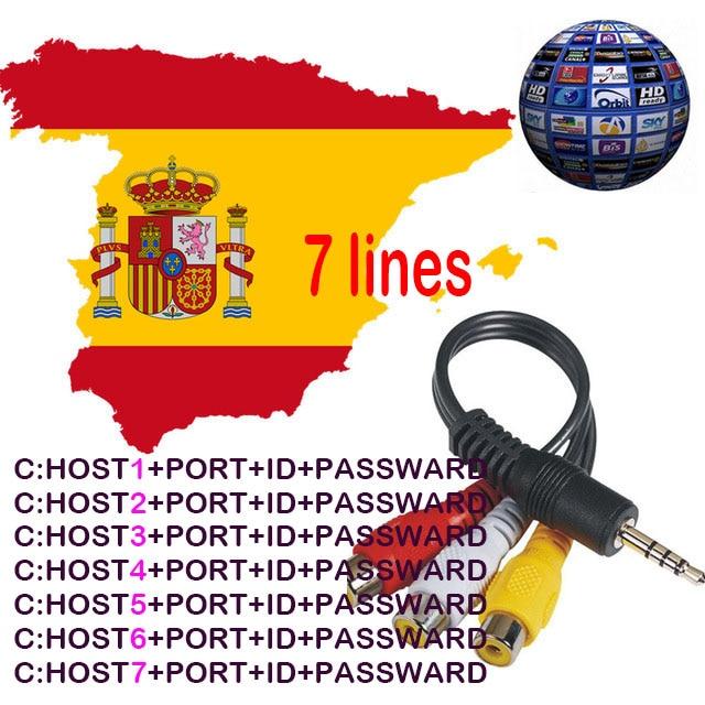 Europe Spain Portugal 1 Year Clines 7Line europe Support Receptor for Satellite Receiver V7 V8 Super DVB-T2/S2 Receptor via USB