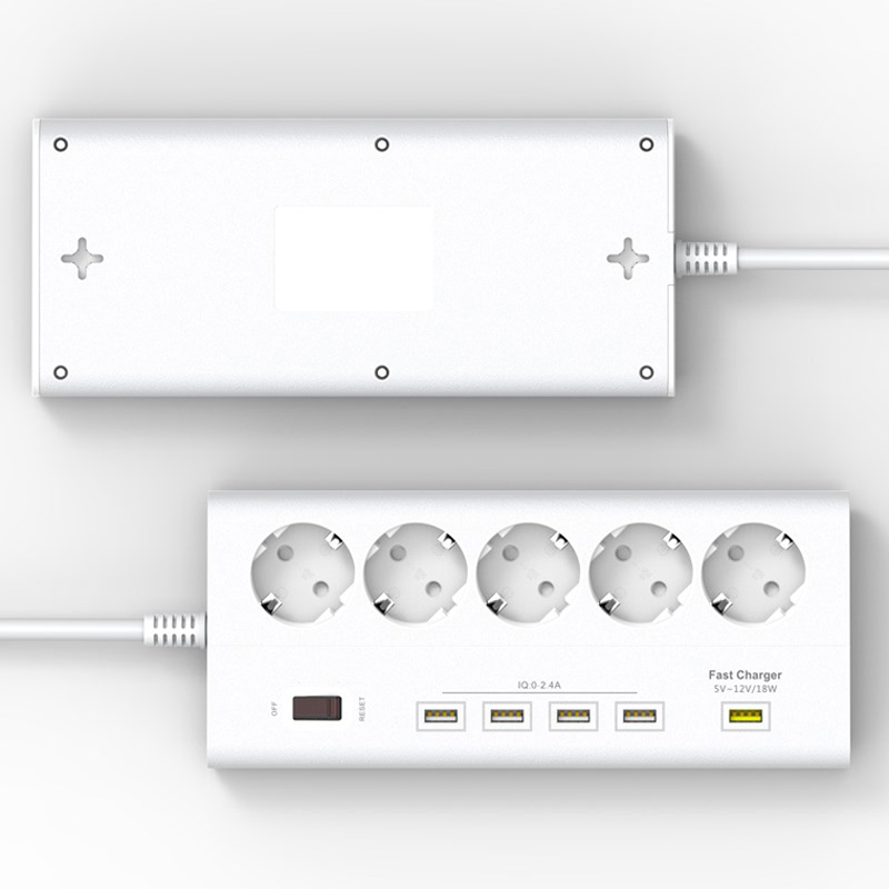Surge Protector European USB Power Strip 5 outlet 5 usb EU Plug Power board Quick Charge