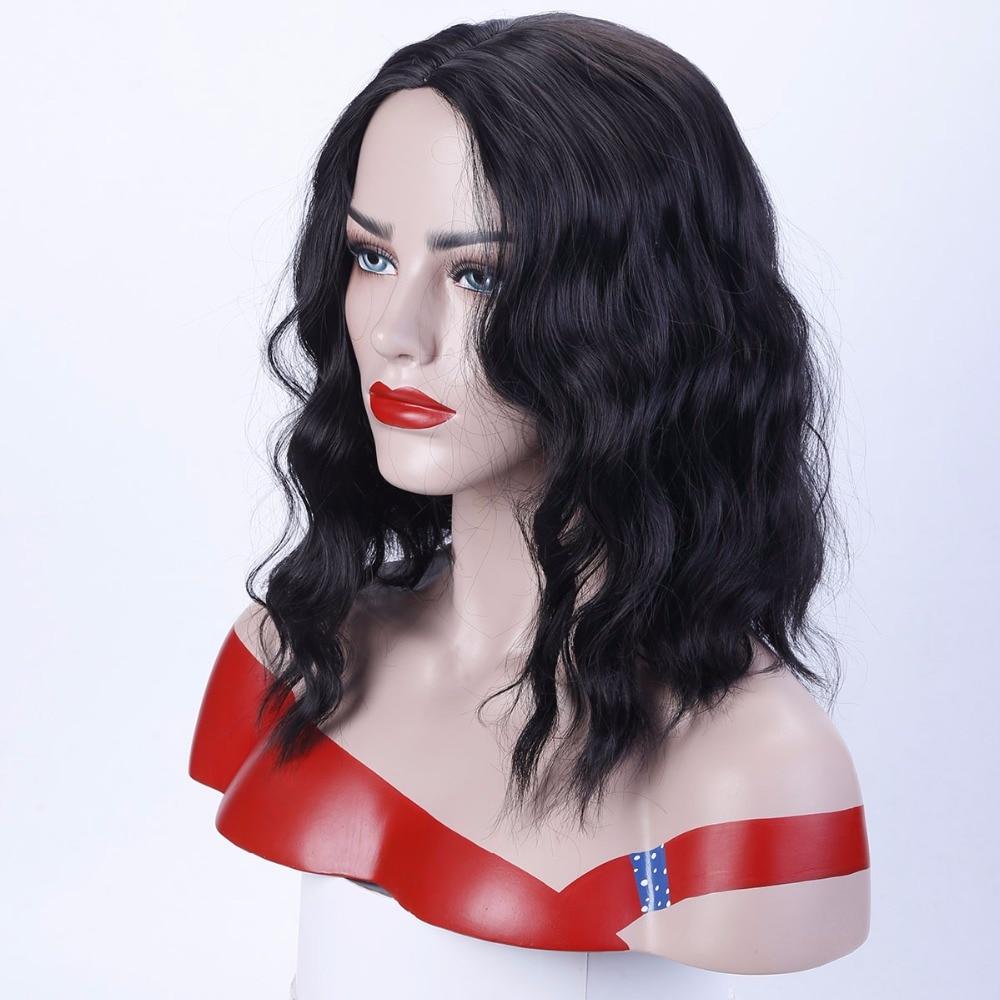 Allaosify Ladys long black long wavy wigs Synthetic Medium style