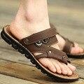 2017 sandálias novas para homens moda homem sapatos sandálias de praia sapatos confortáveis respirável sapatos de couro genuíno marrom caqui preto