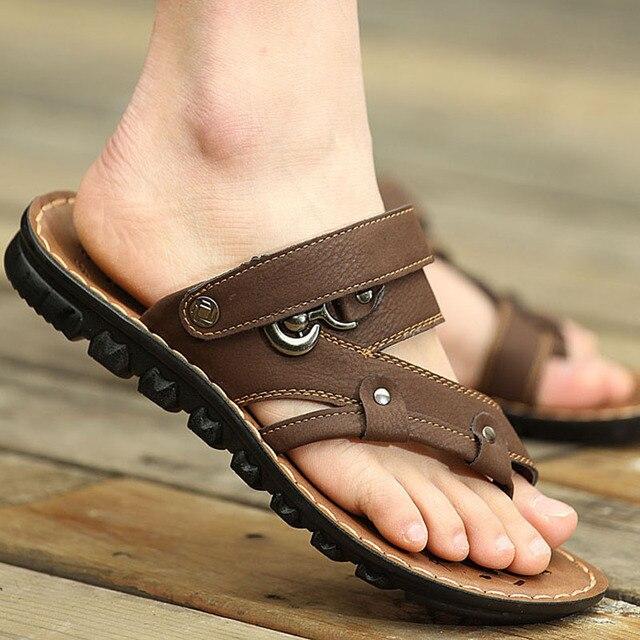 ee9294f786f9 2018 nouvelles sandales pour hommes mâle de mode chaussures de plage  confortable respirant en cuir véritable