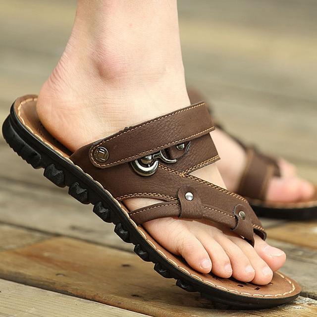 fc87dd4fd3d 2018 nuevas sandalias para hombres moda masculina playa cómoda cuero  genuino transpirable Hombre Zapatos sandalias negro