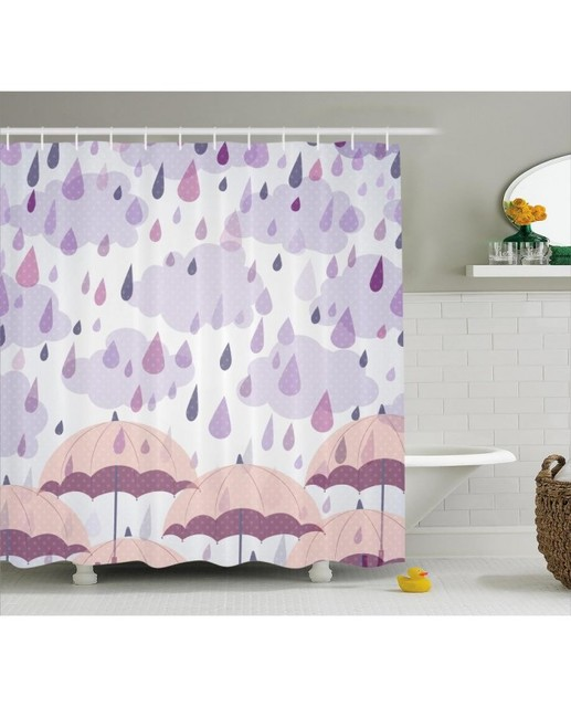 Purple Shower Curtain Pink Umbrellas Rain Print For Bathroom ...
