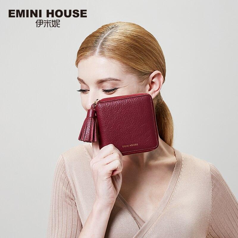 EMINI HOUSE valódi bőr tassel rövid pénztárca női pénztárcák és pénztárcák luxus cipzáras kis pénztárcák utazási pénztárca kártya tartó