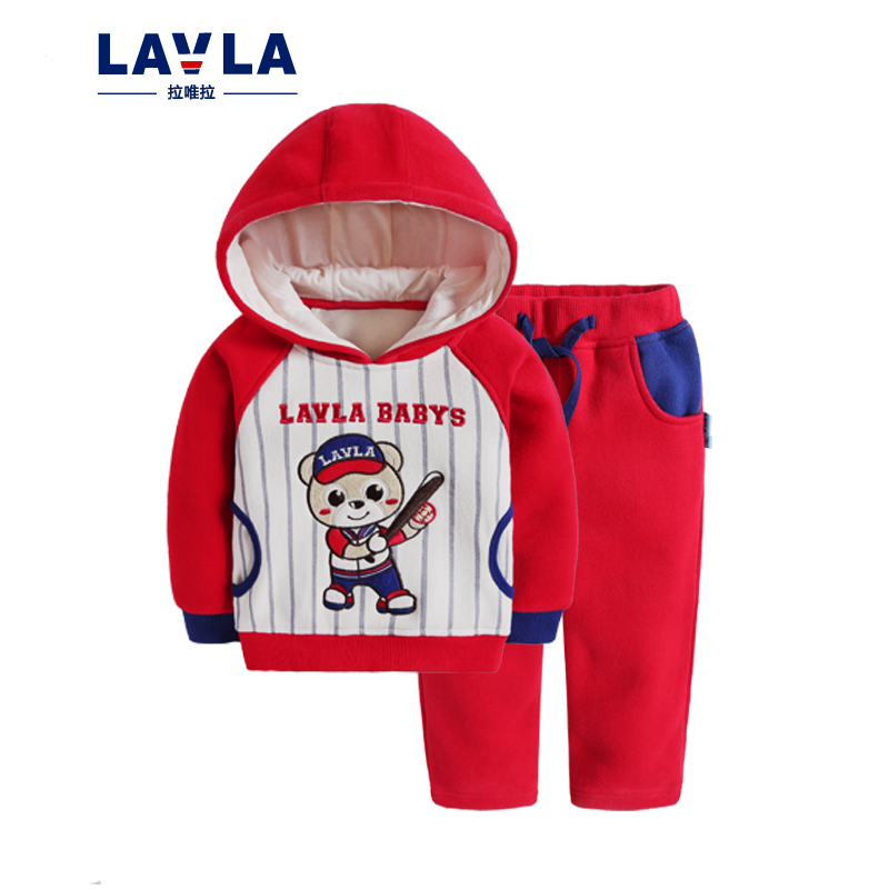 Lavla autumn children's clothing sets baby knitted fleece clothes baby kids boys plus velvet hoodie coat pants outwear christmas paul frank baby boys supper julius fleece hoodie