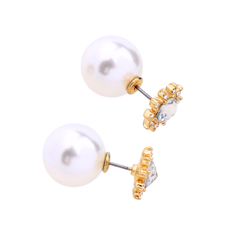 39abfd43c Convertible Crystal Flower Big Imitation Pearl Earrings Studs Women  Temperament Double Side Wedding Earrings Jackets -in Stud Earrings from  Jewelry ...