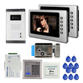 """New Apartment Intercom 2 Screen 7"""" LCD Color Video Door Phone Intercom RFID Kit for 2 House / Family Electric Lock FREE SHIPPING"""
