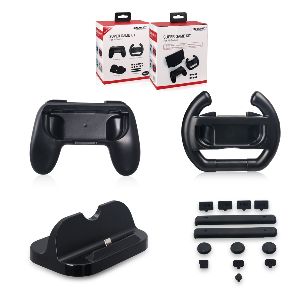 NS Game Kit Black Charging Dock Controller Grip Rubber Plug Controller Wheel for Nintend Switch NS Console Joy-Con Accessories