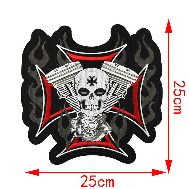 Fine Bikers Motorcycle Embroidered Iron On Patches Large Punk Skull Badges Big Biker Patches For Clothing Coat Accessories