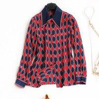 High Quality Silk Print Blouse 2018 New Brand Runway Women Sprint Summer Shirts Fashion Single Breasted