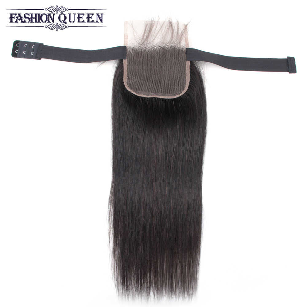 """Elastic Band lace closure Adjustable 4 x 4 Lace Closure Non Remy Straight Human Hair Closure Free/Middle/Three Part 10""""-20"""""""