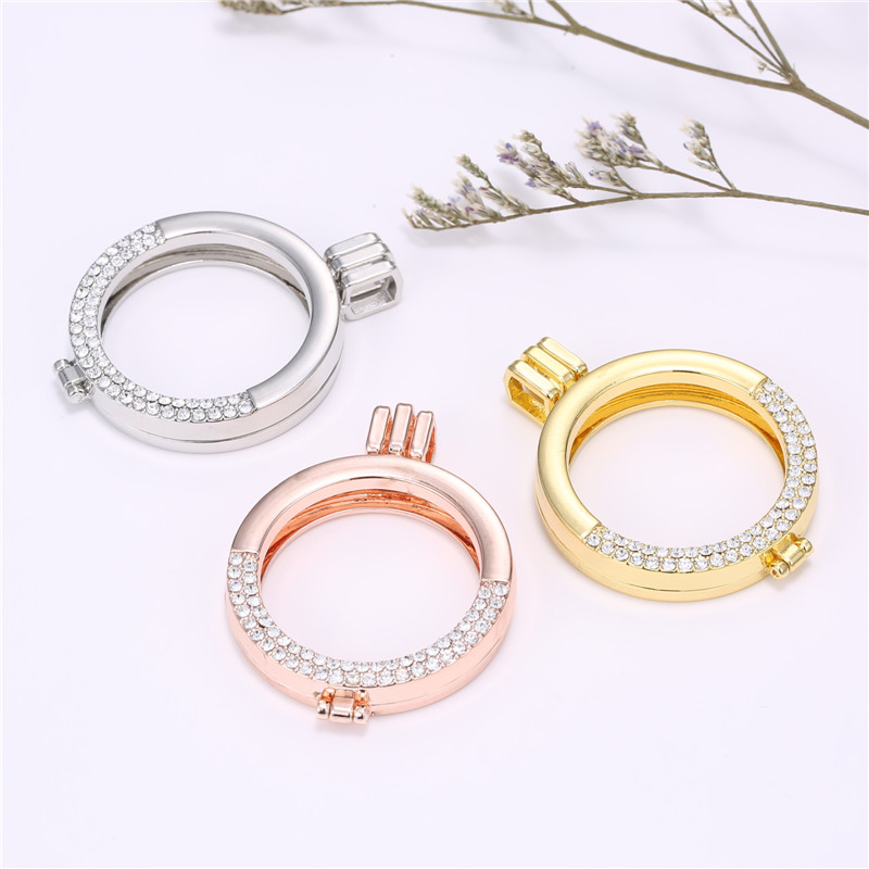 Кристалл 35 мм круглый золотой/розовый цвет золотистый открываемые держатель медальон кулон в форме 33 мм DIY мой диски монеты Новый модные Диз…