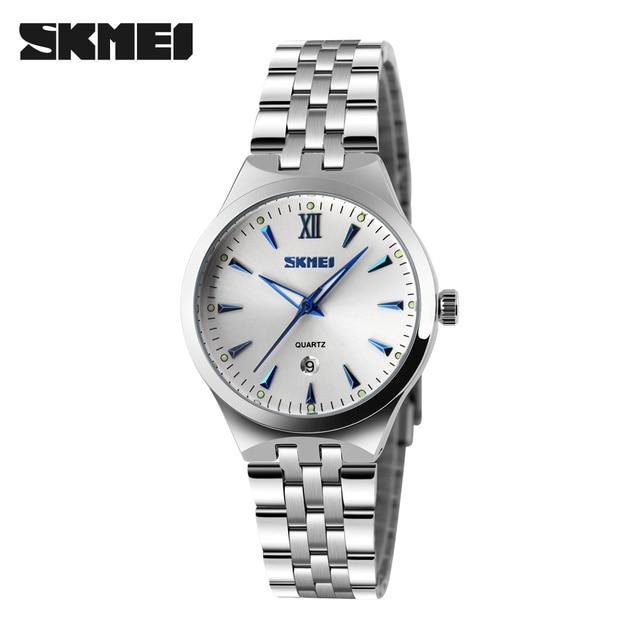 SKMEI кварцевые часы для женщин Мода повседневное Часы Relogio Feminino Montre Femme Reloj Mujer полный сталь водостойкие наручные