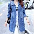 Плюс Размер 5XL Джинсовые Куртки Женщины 2017 Новая Коллекция Весна Осень мода С Длинным Рукавом Джинсы Пальто Женщин Случайный Разорвал Джинсовый Жакет топы