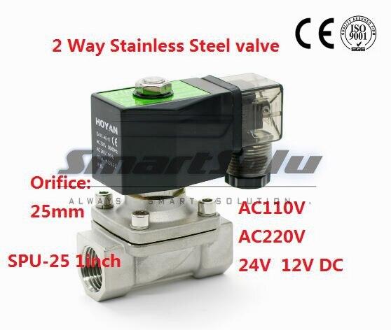 Gratuit shipping2 voies SS304 eau électrique électrovanne normalement fermer G1