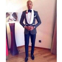 Classic Design Navy Blue Men Dinner Party Prom Suits Groom Tuxedos Groomsmen Wedding Suits (Jacket+Pants+Tie+Hankerchief)