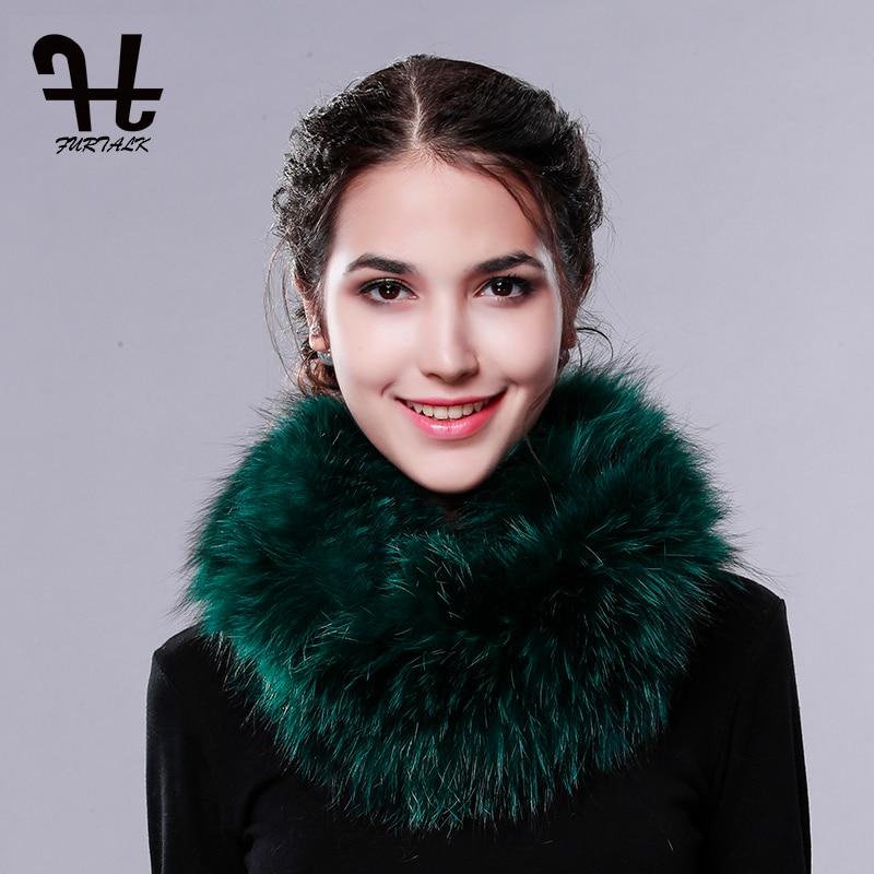 FURTALK 100% real fox fur scarf winter women scarf fur round towel fur infinite scarf