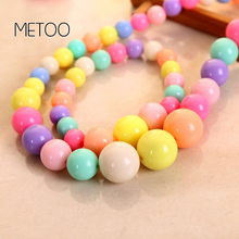 METOO Girls Jewelry for Kids Necklace Bracelet Beads Resin Ball Candy Color Princess Baby Multicolor Children
