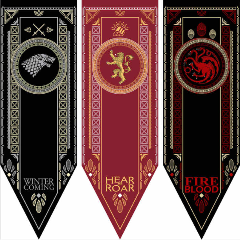 בית תפאורה משחק של הכס באנר דגל בית סטארק Targaryen Lannister קישוט שיר של קרח ואש