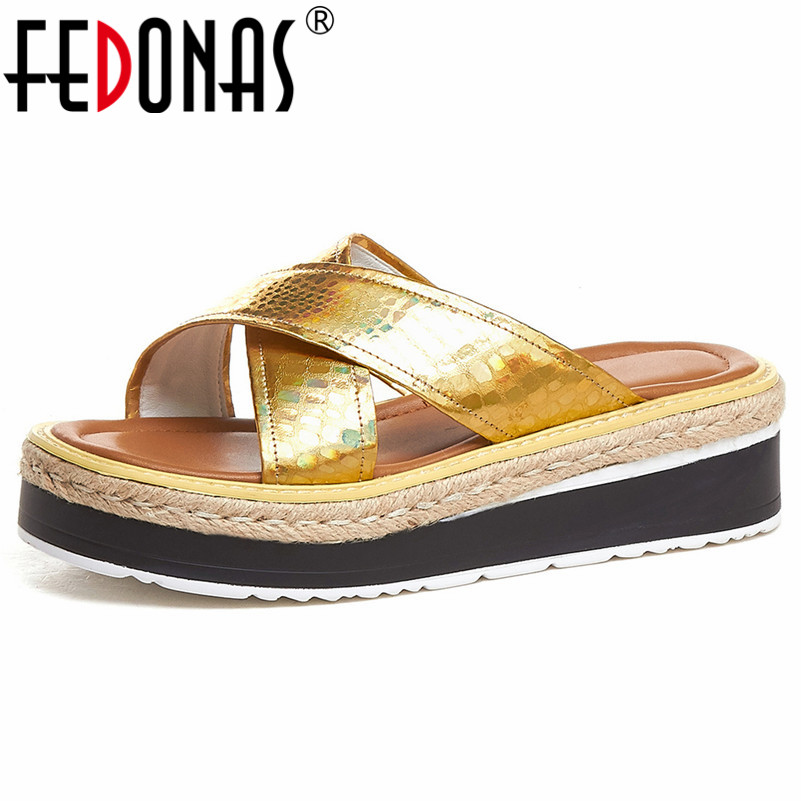 FEDONAS Shallow Slip on Women Flats Slippers 2019 Summer New Genuine Leather Women Sandals Comfortable Basic Casual Shoes WomanFEDONAS Shallow Slip on Women Flats Slippers 2019 Summer New Genuine Leather Women Sandals Comfortable Basic Casual Shoes Woman